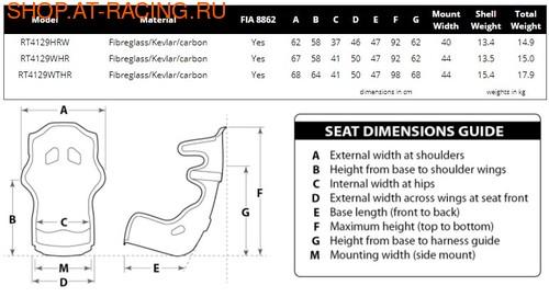 Спортивное сиденье (ковш) Racetech RT4129WTHR (фото, вид 2)